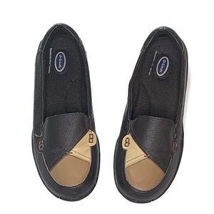 Dr. Scholls Black Leather Loafer Shoes Siip On